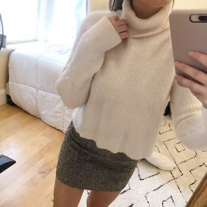 White Turtle Neck Knit Sweater